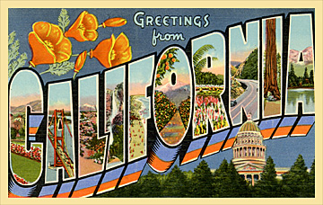 Greetings from California vintage postcard