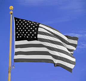 black and white american usa flag