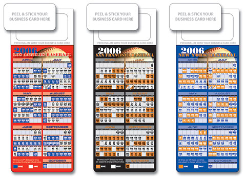 Baseball Schedule Magnets