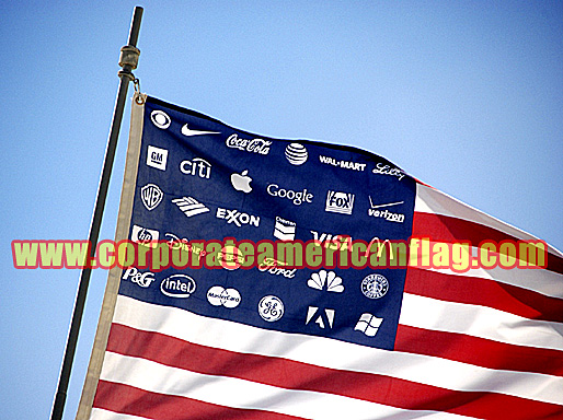 corporate american flag with logo