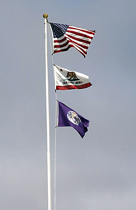 earth flag on flagpole