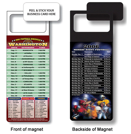 Football Schedule business card magnets