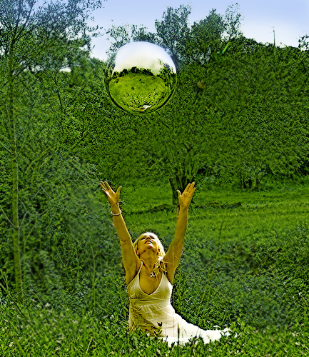 mirror gazing ball throwing in air