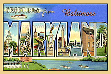 greetings from maryland baltimore vintage postcard