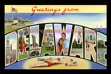 greetings from Delaware vintage postcard