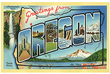 Greetings for Oregon vintage postcard