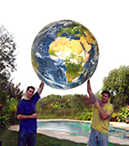 Holding Giant Earth Globe 40 inch