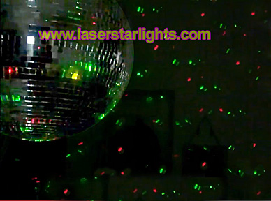 laser star lights red and green light show disco ball