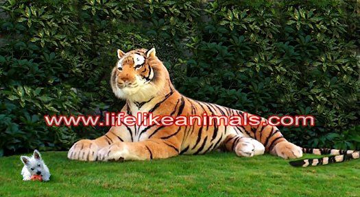 lifesize stuffed tiger and puppy
