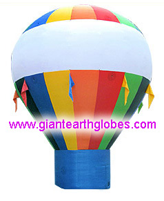 multi color hot air balloon style balloon with fan