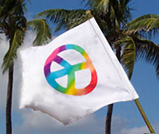 small peace symbol rainbow flag banner