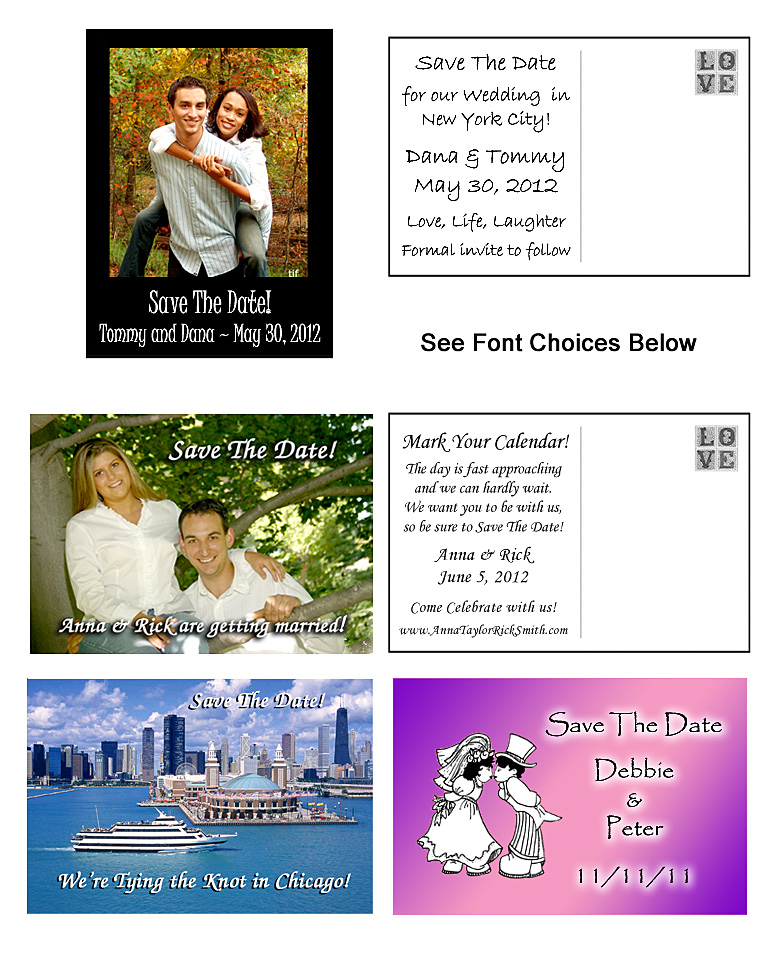 Save The Date Cards And Photo Postcards For Weddings