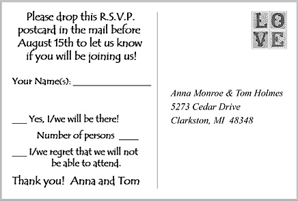 RSVP reply card back