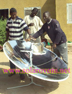 solar parabolic cooker in use in Africa